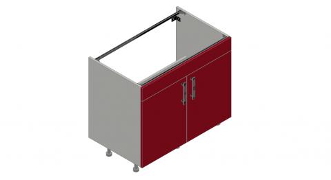 FOUCHARD - Meuble sous évier 2 portes + 1 faux tiroir (blanc)
